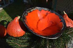 Nádoby - Váza a miska oranžovozlaté - SET - 8755714_