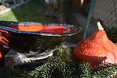 Nádoby - Váza a miska oranžovozlaté - SET - 8755721_