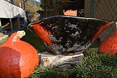 Nádoby - Váza a miska oranžovozlaté - SET - 8755744_