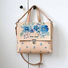 Kabelky - Eva blue flowers2 (kožená kabelka - ručne maľovaná) - 8757589_