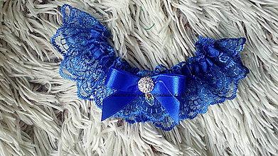 Bielizeň/Plavky - Kráľovsky modrý svadobný podväzok - 8758189_