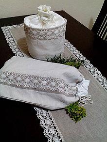 Úžitkový textil - Darčeková sada vrecko + košík z ručne tkaného ľanového plátna - 8759536_