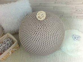 Úžitkový textil - Háčkovaný PUF capuccino bavlna - 8757234_
