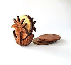 Pomôcky - Drevené podšálky sada PALMA | Palm wooden coaster - 8760425_