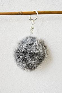 Kľúčenky - Fur... kožušinka... prívesok (šedivá) - 8759771_