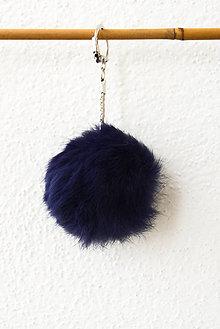 Kľúčenky - Fur... kožušinka... prívesok (tmavomodrá) - 8759772_
