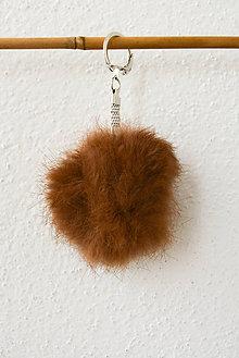 Kľúčenky - Fur... kožušinka... prívesok (svetlohnedá) - 8759777_