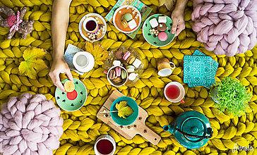 Úžitkový textil - Unikátna obria Merino deka s rebrovým vzorom - horčicová láska - 100x150 - 8756921_