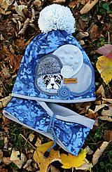 Detské čiapky - Modrá kamufláž - 8757576_