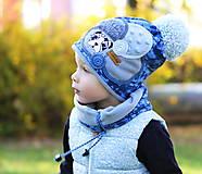 Detské čiapky - Modrá kamufláž - 8757577_