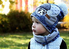 Detské čiapky - Modrá kamufláž - 8757581_