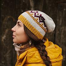 Čiapky - bledošedá čiapka s nórskym vzorom - 8759219_