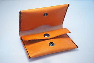 Peňaženky - Kožená peňaženka Slim - různé barvy (Oranžová) - 8756016_