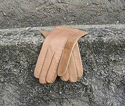 Rukavice - Béžové kožené rukavice s hedvábnou podšívkou - celoroční - 8755527_
