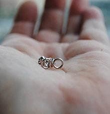 Náušnice - Náušnice zlaté krúžky biele - 8765217_