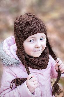 Detské čiapky - Zimná súprava ČOKOLÁDKA - 8761029_