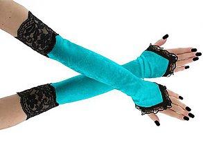 Rukavice - Dámské zamatové rukavičky tyrkysové s čipkou 1020R - 8763973_