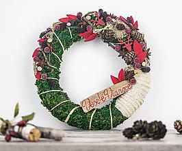 Dekorácie - Prírodný Vianočný veniec červený-Jelenčeky - 8765781_