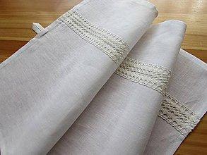 Úžitkový textil - Ľanová utierka so zvyslou krajkou biela - 8763559_