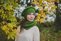 Čiapky - Pletený set - zelený na zimu - 8764152_