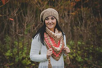 Čiapky - Hnedá baretka a pestrofarebná šatka - 8764430_