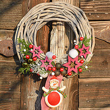 Dekorácie - Vianočný venček na dvere so snehuliakom - 8762029_