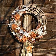 Dekorácie - Vianočný veniec na dvere s hviezdami - 8764150_