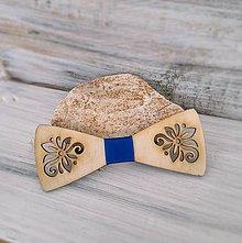 """Doplnky - Drevený motýlik  """"Šťastie"""" (modrá stužka) - 8761069_"""