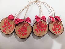 - Niečo červeno - ľudové na Vianoce - sada drevených ozdôb - 8763909_