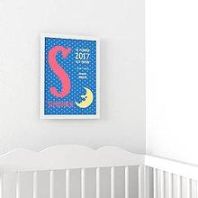 Detské doplnky - Personalizovaný obrázok - Iniciála s mesiacom - 8765405_