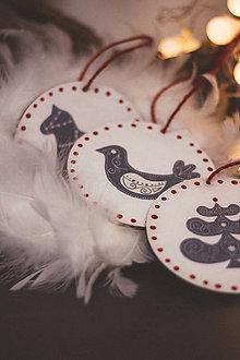 Dekorácie - Vianoce v Škandinávii - sada 5ks - 8764631_