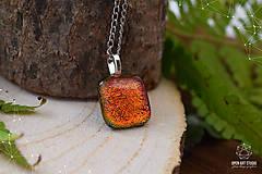 Náhrdelníky - Jesenný jablkovo - oranžový sklenený náhrdelník - 8761637_