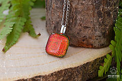 Náhrdelníky - Jesenný jablkovo - oranžový sklenený náhrdelník - 8761638_