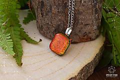 Náhrdelníky - Jesenný jablkovo - oranžový sklenený náhrdelník - 8761639_