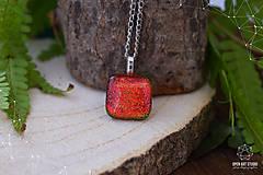 Náhrdelníky - Jesenný jablkovo - oranžový sklenený náhrdelník - 8761640_