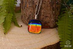 Náhrdelníky - Skvelý dúhový sklenený náhrdelník