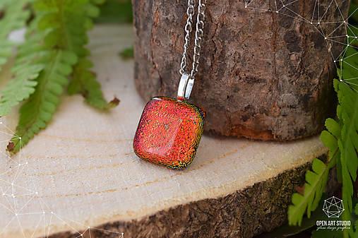 Jesenný jablkovo - oranžový sklenený náhrdelník