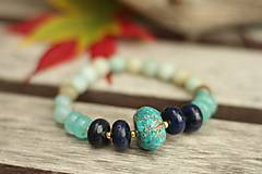 Náramok z minerálov jaspis, lapis lazuli, amazonit