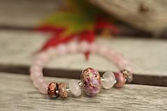 - Náramok z minerálov jaspis, ruženín - 8762687_