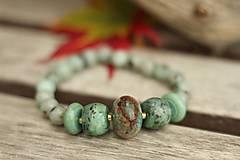 - Náramok z minerálov jaspis, tyrkys, tyrkenit - 8764668_