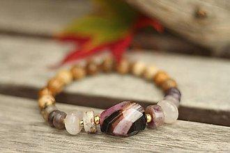 Náramky - Náramok z minerálov achát, jaspis, ametyst, ruženín - 8764357_