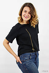 Tričká - Dámske tričko čierne IO11 - 8761352_