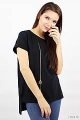Tričká - Dámske tričko čierne IO11 - 8761356_