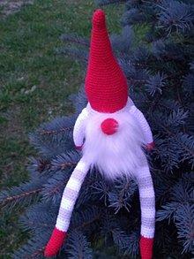 Dekorácie - Vianočný škriatok - červený - 8768846_