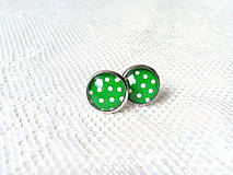 Náušnice - Pin Up earrings (green/white dots) - 8767412_