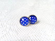 Náušnice - Pin Up earrings (blue/white dots) - 8767426_