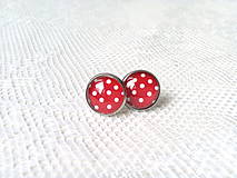 Náušnice - Pin Up earrings (red/white dots) - 8767448_