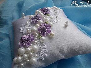 Prstene - Svadobný vankúšik na obrúčky - 8767088_