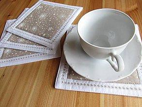 Úžitkový textil - Podšálky snehová vločka 4ks - 8766038_