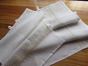 Úžitkový textil - Sada ľanových utierok s krajkou biela - 8767374_